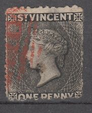 ST VINCENT - 1870 ONE PENNY ANNULLO IN ROSSO