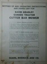 David Bradley Sickle Mower Implement Garden Tractor Owner Amp Part Manual 9175753