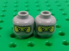 *NEW* Lego Grey Ninja Racing Mask Faces Heads for Mini Figures Men People -2 pcs
