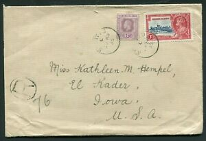 1935 Silver Jubilee Leeward Islands 1d with 6d definitive on 2 oz. cover to USA