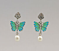 9907357 925er Silber Ohrringe Schmetterling Transluzidemaille Markasiten 2x3,5cm