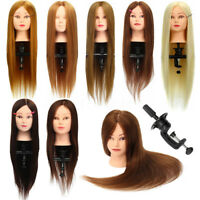 "26"" 100% Real Hair Hairdressing Training Head Practice Mannequin + Clamp"