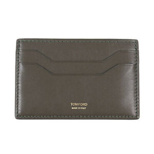 Tom Ford Olive Green Leather Card Holder Front Pocket Wallet with ID Window