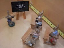 Miniatures Bunny Wooden House Chalkboard TEACHER with students school benches