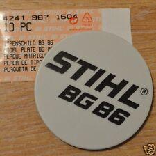 Genuine Stihl BG86 Model Plate Name Plate 4241 967 1504 Incl Tracked Post