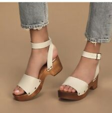 Lulu's Willy Leather Off White Open-Toe Clog Sandals