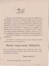 *1902 Faire-part décès Joseph-Anatole DESBARATS - Mézin (Lot-et-Garonne)