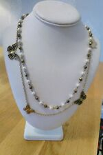 chain pearl bead costume necklace. Modern pretty delicate butterfly gold