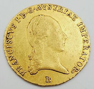 1823 Rare Austria Ducat Franz II  Hapsburg, Imperator Mint B 98% Gold Coin 3.49g