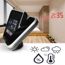 LED Backlight Projection Digital Weather LCD Snooze Alarm Clock Color Display