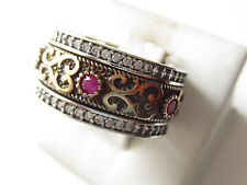 925 Sterling Silver Turkish Ottoman Hurrem Sultan Ruby Handmade Band Ring S 7.75