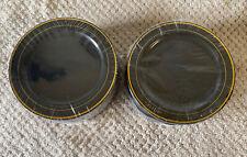 100Pcs Black Plastic Plates Gold Rim7.5 in Salad/Dessert Ideal Weddings& Parties