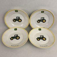 "Gibson John Deere Green Tractor 9"" Salad Plate Set 4 Nothing Runs Like A Deere"
