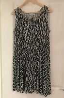 BNWOT F & F BLACK WHITE NAVY BALTIK PRINT SUMMER BEACH DRESS SIZE 18