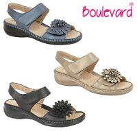 LADIES Touch Fastening FLOWER Summer Sandals - Black Blue Grey  Size 3 4 5 6 7 8