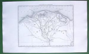 1859 ANTIQUE MAP Original - Upper Egypt Delta of Nile River