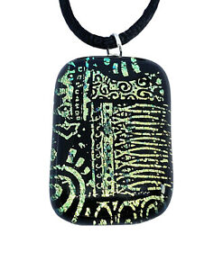 Dichroic Glass Pendant, Handmade Glass Pendant, Fused Glass, Etched, 3cm x 2cm