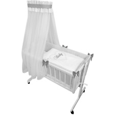 Babywiege mit Rollen inkl.Textiler Weiß grau BABY-HERZEN Deko Schleifen