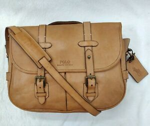 Polo Ralph Lauren Leather Briefcase Messenger Bag Brown