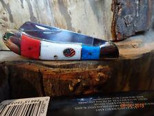 "STEEL WARRIOR 3 3/8"" CLOSED SADDLEHORN POCKET KNIFE 440 BLADES RED WHITE BLUE BO"