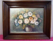 """PEINTURE SUR TOILE Bouquet de Fleurs """" signée Helman """" 54x45cm"""