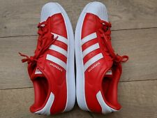Men's 2016 adidas Originals Superstar Red/White Leather Sneakers Size 10.5