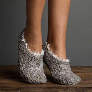 Lemon Ladies Knit Faux-Fur Lined Slipper Socks Gripper Bottom Bootie Nickel Grey