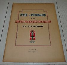 TROUPE FRANCAISES OCCUPATION N°12 1946 CORPS FRANC POMMIES SARRE CHAILLET