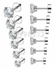 2Pcs 18G Women Men Stainless Steel White Cubic Zirconia Stud Earrings Screw Back