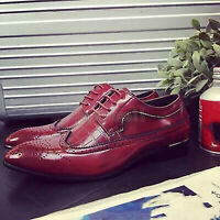 Handmade Men's Leather Oxfords Lace Up Brogue Smart Dress Wingtip Shoes