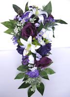 Wedding Bouquet 17 piece package Bridal set Silk Flower PURPLE Grape PLUM LILY