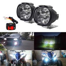 12V Universal Motorcycle LED Copper Headlight Spotlight Fog Lamp 3000LM + Switch