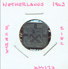 WORLD COINS NETHERLANDS 1943 5 CENT CH VF (2G697) Tough Date in zinc z