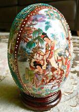"Superb Antique Hand Painted & Gold Gilded Japanese Moriage 7""/18cm Porcelain Egg"