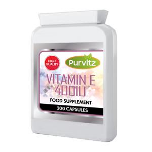 Vitamin E Tabletten 400IU Höchste Stärke 200 Kapseln Softgelkapseln Haut Haar