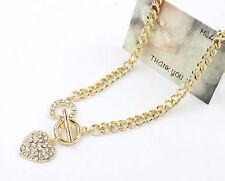 Hot Women Gold Chain Diamonde Rhinestone Heart Chunky Choker Necklace Jewelry UK