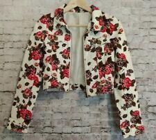 H&M Divided Ivory Floral Denim Jean Crop Jacket Size 2