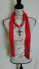 Womens Bling Rhinestone Cross With Rose Bead Silver Red Scarf With Jewelry