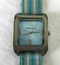 Vintage Solo Battery Operated Quartz Fashion Watch - Canvas & Leather Strap