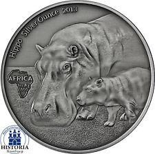 Afrika Serie: Kongo 1000 Francs CFA Silber 2013 Nilpferd Hippo Silver Ounce