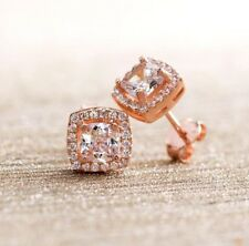 3.44 CTTW Halo Stud Earrings with Swarovski Elements in Rose Gold Plating