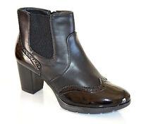STIVALI NERI donna tronchetti scarpe calzata comoda tacco alto pelle vernice F5X