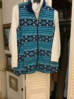 Lena Woman Plus Size 18/20 Fleece Fair Isle Snowflake Vest Blue Navy White