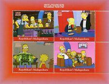 Madagascar 2018 MNH Simpsons Homer Bart Simpson 4v M/S I Cartoons Stamps