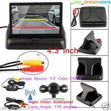 Wireless170° Night Vision Waterproof Backup Camera+4.3 Inch Foldable Car Monitor