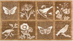 By Panel-Botanical Beauty Bird Nature Kaufman Fabric 15972-14 Natural Brown