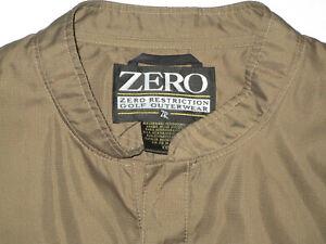 ZERO RESTRICTION MEN'S GOLF JACKET BROWN GREEN XXL 2XL POLYESTER USED
