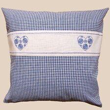 Kissenbezug blau weiß kariert Stickerei Herz Kissenhülle Bettwäsche