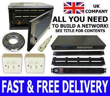 6U Network in a Box! 300mm Black Wall Cabinet, 24 Port Switch, 5 Way PDU, Tool,