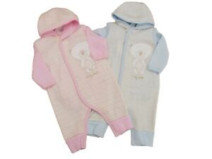 BNWT Tiny baby Premature Preemie 2 piece teddy romper  in pink or blue 5-8lb